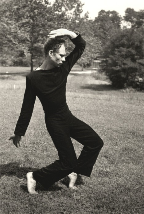 Choreographer Merce Cunningham dancing, photo by Hazel Larsen Archer, 1952-53. (Courtesy ICA Boston)