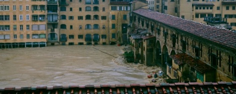 Arno River flooding at the Ponte Vecchio
