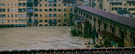Arno River flooding at the Ponte Vecchio
