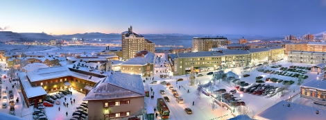 Kiruna Sweden, the current town.