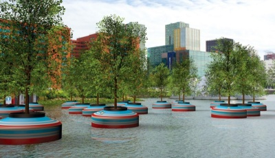 Floating forest for Rotterdam's Rijnhaven neighborhood.