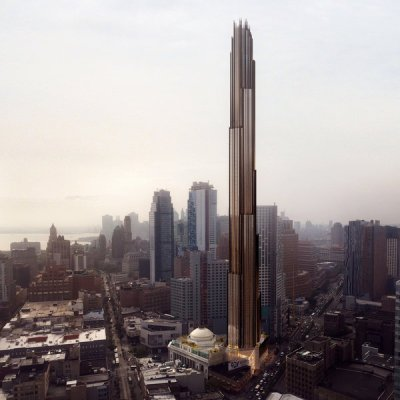 Rendering of proposed 73-story tower. Courtesy of Courtesy of SHoP architects