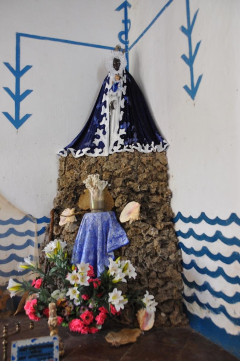 Santeria still practiced in Cuba is an Afro-Christian religion. Here a shrine