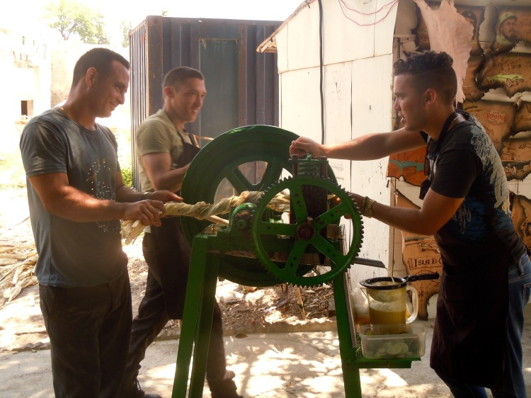 Squeezing sugarcane to make a cool drink (Photo by Meg Maguire)