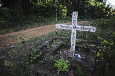 A marker in remembrance of Sister Dorothy Strang murdered in 2005