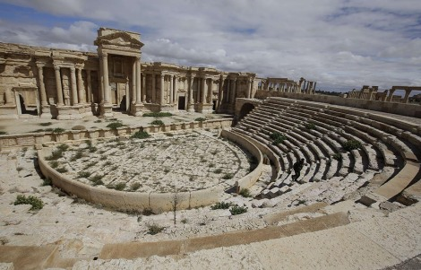 A file picture taken on March 14, 2014 shows a partial view of the theatre at the ancient oasis city of Palmyra, 215 kilometres northeast of Damascus. Islamic State group fighters advanced to the gates of ancient Palmyra on May 14, 2015, raising fears the Syrian world heritage site could face destruction of the kind the jihadists have already wreaked in Iraq. AFP PHOTO / JOSEPH EIDJOSEPH EID/AFP/Getty Images NYTCREDIT: Joseph Eid/Agence France-Presse -- Getty Images