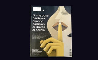 Francesco Franchi art director of magazine IL (Ideas and Lifestyles), a supplement to Italy's leading economics newspaper, Il Sole 24 Ore. This cover about freedom of speech (illustrated by Maria Corte) uses geometric shapes to represent both form and shadow.