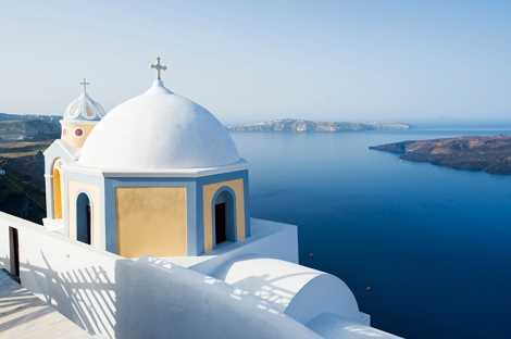 View of Aegean Sea from the clifftop village.Courtesy of Lonely Planet.