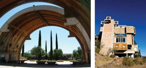 Never completed, Soleri's Arcosanti continues to attract followers of this visionary architect. Left courtesy of Sheldon Schwartz via Flickr; right, courtesy of traxus4420, via Flickr.