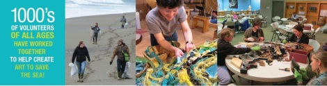 Kids and grownups help make the sculptures for Washed Ashore. Courtesy of Washed Ashore.
