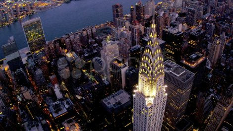 Aerial view of the Chrysler Building at night. Courtesy of askideas.com