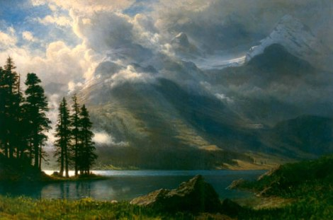 Grand Tetons landscape by Albert Bierstadt painted between 1865 and 1869. Today housed at Marsh-Billings-Rockefeller National Historical Park