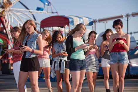 Teens on their cell phones