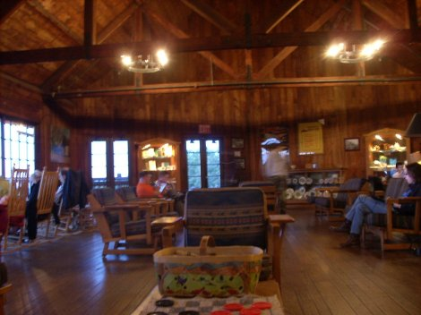 Enjoying the lodge at Big Meadows, with a gigantic stone fireplace and views down into the Virginia valleys
