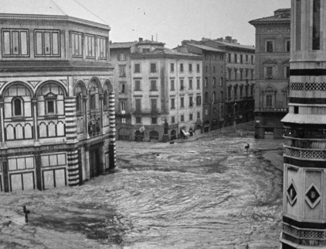 The flood swirling in historic center of Florence, Italy