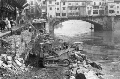 Ponte Vecchio shops destroyed by the flood have been restored. Here an example of the devastation. Photo by Associated Press