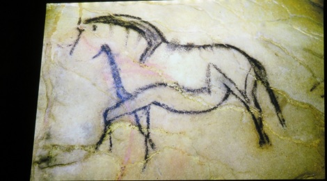 Our ancestors 36,000 years ago used charcoal from wood to draw this horse in the Chauvet Cave, in the Ardeche region of France. Courtesy of the Chauvet Cave Museum