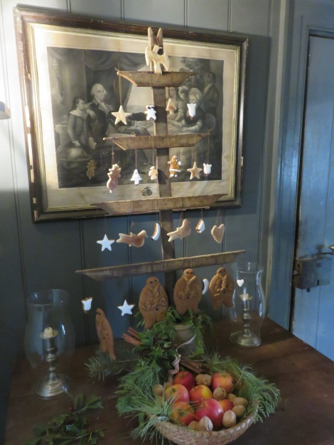 A 19th-century wooden Christmas tree with ornaments made from baked cookie dough, a tradition at the Landis Valley Farm Museum in Lancaster PA. (Roberta Faul-Zeitler, CC 3.0)