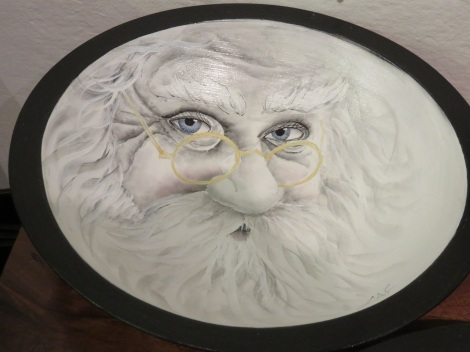 Santa in his reading glasses. Handpainted wooden bowl by Lancaster PA artist Cindy Schlosser. Visit her facebook page to see hundreds of handpainted bowls she has created. https://www.facebook.com/galleryonmarket/