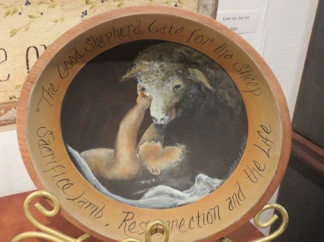 Enfant with lamb. Handpainted wooden bowl by artist Cindy Schlosser, Lancaster PA.