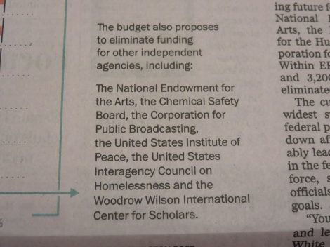 Targeting the arts, humanities, museums, public broadcasting to defund completely. Courtesy of the Washington Post (March 16 2017)