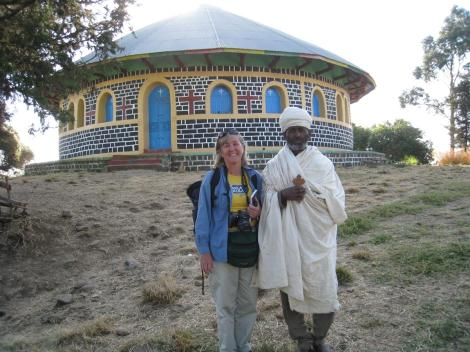 Dr Margaret Lowman with the Priest of Debresena (Ethiopia)