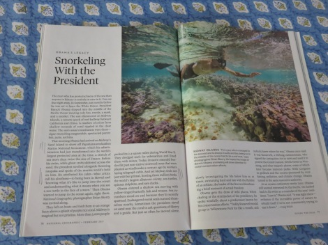 Skerry and President Barack Obama snorkeled together off Sand Island for this memorable spread (February 2017 Geographic).