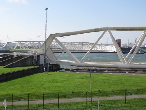 Maeslantkering barrier gates completed in 1997 are twice as long and twice as heavy as the Eiffel Tower. The barrier can be used to protect the Port of Rotterdam, one of the world's largest ports, and the city of Rotterdam. (Bobbie Faul-Zeitler CC 3.0)