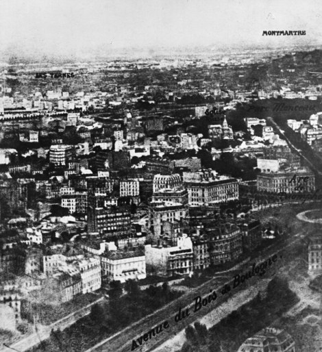 First aerial photograph of Paris at altitude of 520 meters, by Nadar. Courtesy Getty Archive.