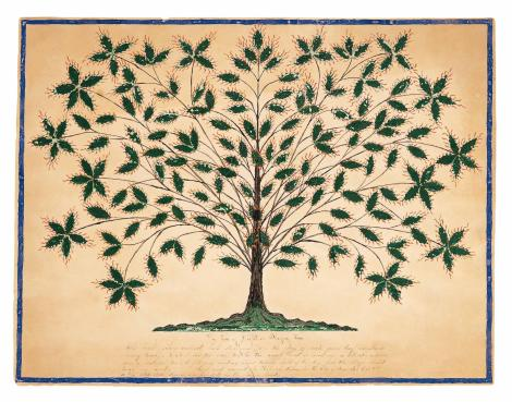 Hannah Cohoon, Tree of Life or Blazing Tree (Shaker) 1845