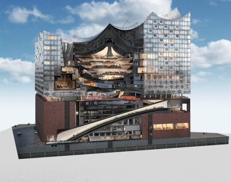 Elbphilharmonie cutaway model.