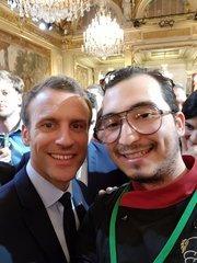 M'Seddi with French President Macron. Photo by M'Seddi