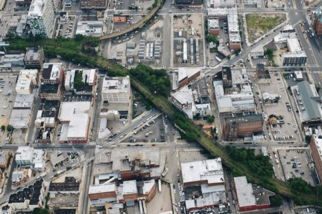 Philadelphia's Railpark aerial rendering. Courtesy of Friends of the Rail Park