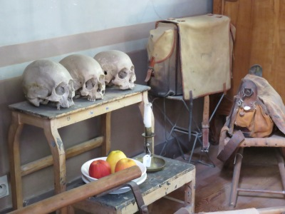Three skulls in the artist's studio were actually used in still lifes as memento mori.