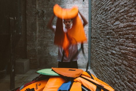 Seeking Refuge, another CMHR exhibition uses discarded life vests to create an art installation (summer 2018)