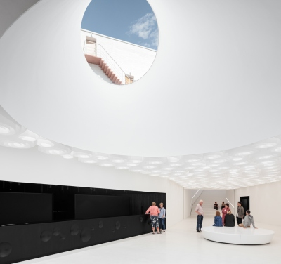 Amos Rex Art Museum, a below-ground view to the portals on the plaza. Photo copyright by Tuomas Uusheimo