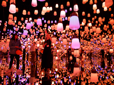 Forest of resonating lamps is possibly the most popular exhibit area. Visitors get two minutes in the room to take selfies. Lamps change color frequently.
