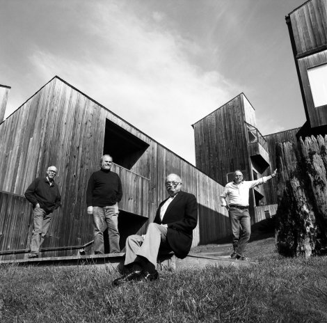 Architects Richard Whitaker, Donlyn Lyndon, Charles Moore and William Turnbull were designers of some of the earlies buildings at Sea Ranch. Here they are at Sea Ranch condo #1 in 1991.