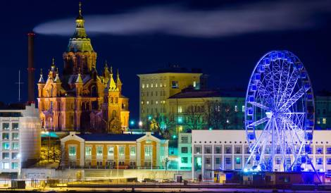 Helsinki Finland. The country ranks #1 among the 156 countries ranked in the 2019 happiness report.