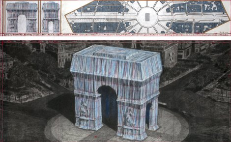 Sketch of proposed wrapping the Arc de Triomphe by Christo