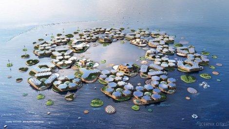 Schematic of proposed floating city. Courtesy of Bjarke Ingels Group (BIG)