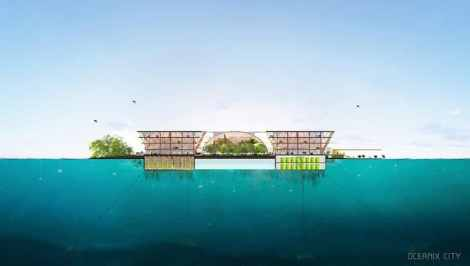 Oceanix and BIG (Bjarke Ingels Group) envision a floating city made of interlocking modules.