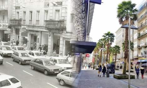 Centro de Pontevedra, Calle Mellado, before and after. Courtesy of Concello de Pontevedra.