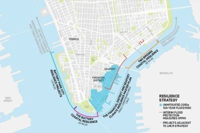 Expanding New York's shoreline on the East River as a flood barrier.