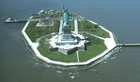 Liberty Island. Courtesy of Wiki Commons. The star-shaped platform was part of a fort later dismantled.f