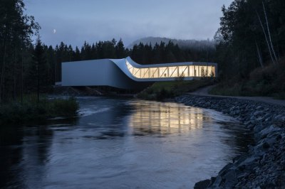 Twisted bridge museum at Kistefos art park near Oslo, Norway. Designed by BIG Bjarke Ingels Group. Courtesy of Archinet