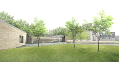 Schematic for planned studio/visitor center. Courtesy of John Ronan Architects