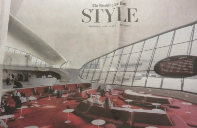 "Interior of the former TWA terminal, now a hotel, featured in a Washington Post ""Style"" review"